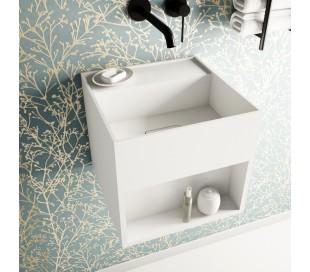 Ideavit Solidbliss vægmonteret håndvask 30 x 30 cm Solid surface - Mat hvid