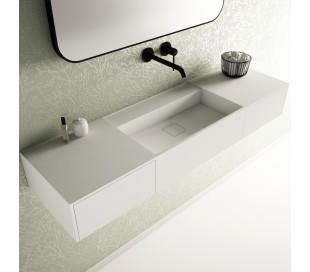 Ideavit Solidbliss vægmonteret håndvask 140 x 40 cm Solid surface - Mat hvid