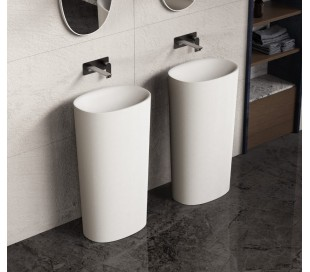 Ideavit Solidcliff gulvmonteret håndvask B50 x H90 cm Solid surface - Mat hvid