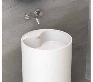 Ideavit Solidroll gulvmonteret håndvask Ø45 x H90 cm Solid surface - Mat hvid