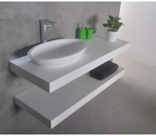 Ideavit Solidplus hylde til håndvask 90 x 46 cm Solid surface - Mat hvid