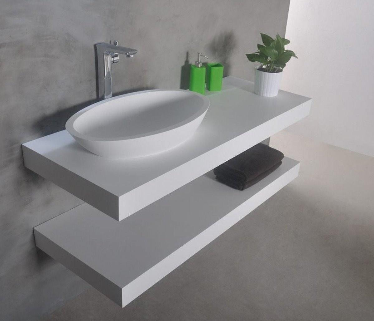 Ideavit Solidplus Hylde Til Handvask 90 X 46 Cm Solid Surface Mat Hvid