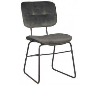 Spisebordsstol i velour og metal H87 cm - Antracit