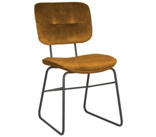 Spisebordsstol i velour og metal H87 cm - Okker