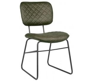 Spisebordsstol i microfiber og metal H87 cm - Armygrøn