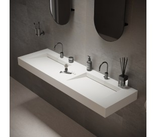 Ideavit Solidsquare vægmonteret håndvask 150 x 46 cm Solid surface - Mat hvid
