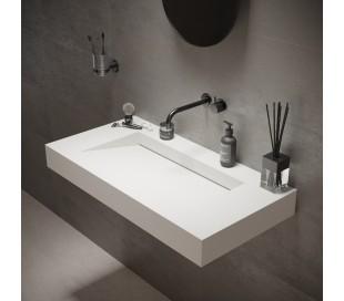 Ideavit Solidsquare vægmonteret håndvask 90 x 46 cm Solid surface - Mat hvid