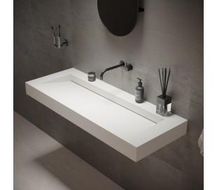 Ideavit Solidsquare vægmonteret håndvask 120 x 46 cm Solid surface - Mat hvid