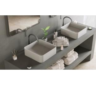 Ideavit Solidthin bordmonteret håndvask 40 x 40 cm Solid surface - Mat hvid