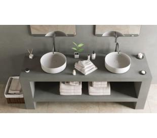 Ideavit Solidthin bordmonteret håndvask Ø40 cm Solid surface - Mat hvid