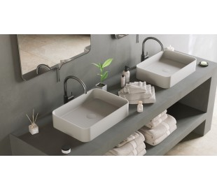 Ideavit Solidthin bordmonteret håndvask 50 x 35 cm Solid surface - Mat hvid