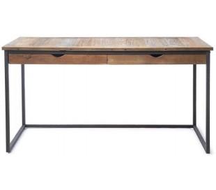 Skrivebord i genanvendt elmetræ og jern 150 x 70 cm - Sort/Natur