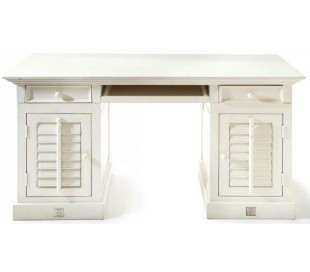 Skrivebord i akacietræ 150 x 70 cm - Antik hvid