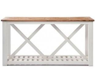 Konsolbord i genanvendt elmetræ 160 x 46 cm - Antik hvid/Natur