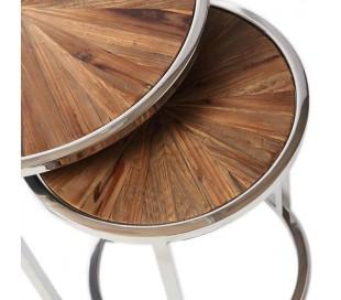 Sofaborde i genanvendt egetræ og stål Ø40/55 cm - Rustfri stål/Natur