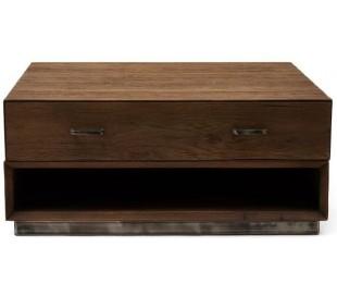 Sofabord i genanvendt egetræ og jern 90 x 90 cm - Antik jern/Antik brun
