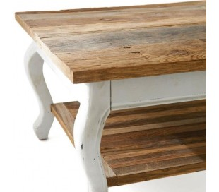 Sofabord i genanvendt elmetræ 70 x 70 cm - Antik hvid/Natur