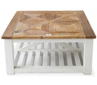 Sofabord i genanvendt elmetræ 90 x 90 cm - Antik hvid/Natur