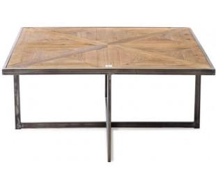 Sofaborde i genanvendt egetræ og stål 100 x 100 cm - Antik jerngrå/Antik brun