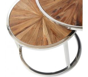 Sofaborde i genanvendt egetræ og stål Ø45/60 cm - Rustfri stål/Natur