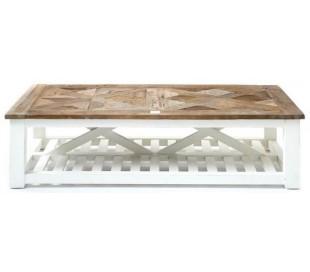 Sofabord i genanvendt elmetræ 150 x 70 cm - Antik hvid/Natur
