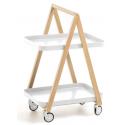 Rullevogn/Barbord i metal og træ H78 x B50 cm - Hvid/Natur