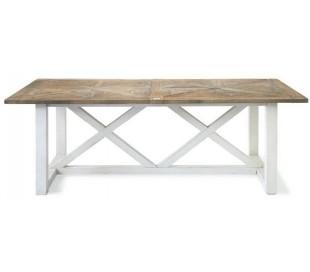 Spisebord i genanvendt elmetræ 220 x 100 cm - Antik hvid/Natur