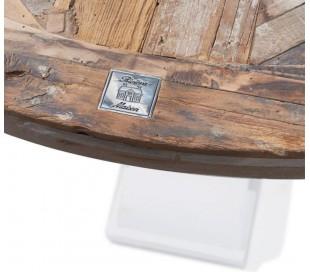 Rundt spisebord i genanvendt elmetræ Ø140 cm - Antik hvid/Natur