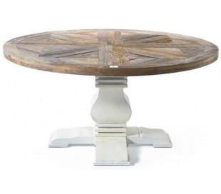 Rundt spisebord i genanvendt elmetræ Ø160 cm - Antik hvid/Natur