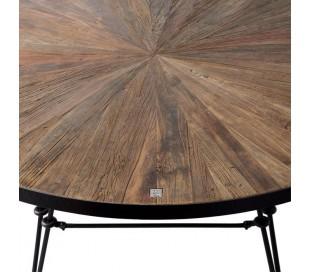Rundt spisebord i genanvendt elmetræ og jern Ø140 cm - Industrielt sort/Antik brun