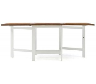 Spisebord i genanvendt elmetræ 70/200 x 80 cm - Antik hvid/Natur