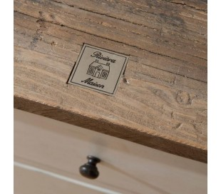 Sengebord i genanvendt elmetræ og poplartræ H58 cm - Antik hvid/Antik natur