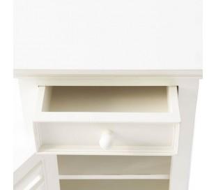 Sengebord i akacietræ H75 cm - Antik hvid