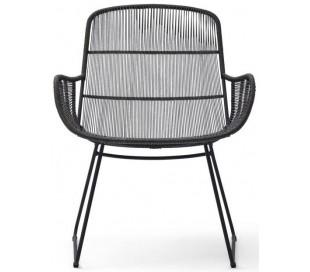 Hartford lounge havestol i reb og aluminium H82 cm - Sort