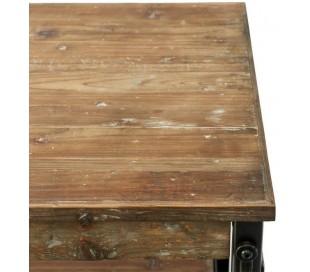 Reol i genanvendt fyrretræ og jern H100 cm - Industrielt sort/Rustik brun