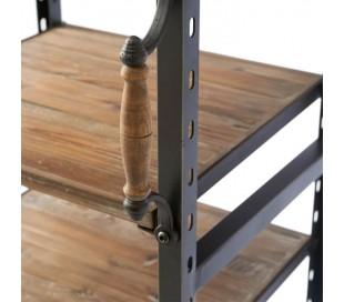 Reol i genanvendt fyrretræ og jern H200 cm - Industrielt sort/Rustik brun