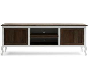 Tvbord i genanvendt elmetræ og poplartræ B180 cm - Antik hvid/Rustik brun