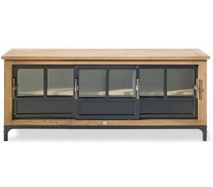Tvbord i genanvendt asktræ og jern B155 cm - Brun/Sort