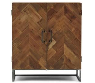 Sideboard i genanvendt elmetræ og jern H91 cm - Industrielt grå/Rustik natur