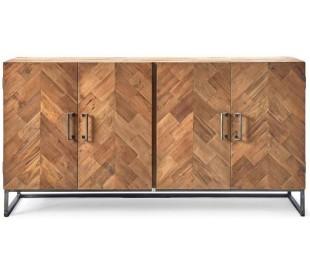 Sideboard i genanvendt elmetræ og jern B160 cm - Industrielt grå/Rustik natur