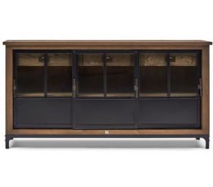 Sideboard i asktræ, jern og glas B175 cm - Natur/Industrielt sort