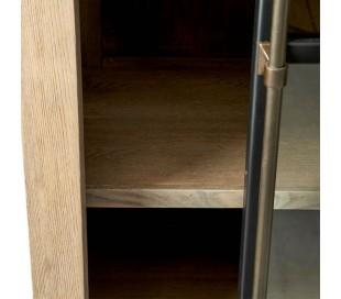 Vitrineskab i asktræ, jern og glas H170 cm - Natur/Industrielt sort
