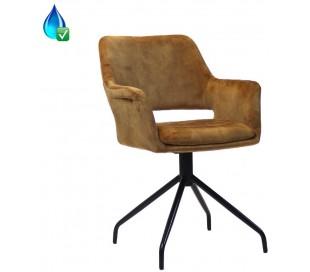 Nina rotérbar spisebordsstol i velour H84 cm - Sort/Okker