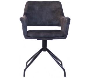 Nina rotérbar spisebordsstol i velour H84 cm - Sort/Antracit