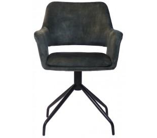 Nina rotérbar spisebordsstol i velour H84 cm - Sort/Mørkegrøn