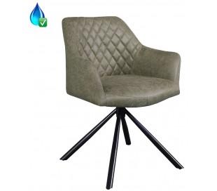 Dex rotérbar spisebordsstol i øko-læder H80 cm - Sort/Vintage olivengrøn