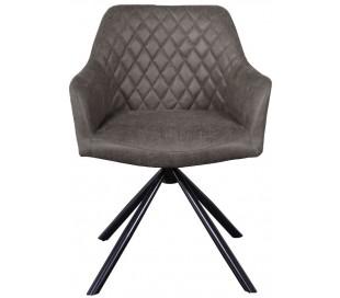 Dex rotérbar spisebordsstol i øko-læder H80 cm - Sort/Vintage antracit