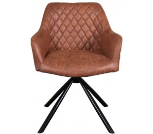 Dex rotérbar spisebordsstol i øko-læder H80 cm - Sort/Cognac