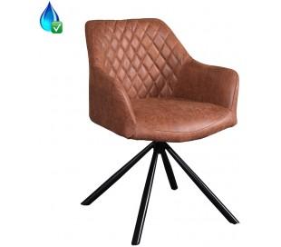 Dex rotérbar spisebordsstol i øko-læder H80 cm - Sort/Vintage cognac