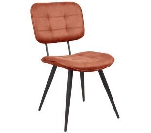 Spisebordsstol i microfiber og metal H87 cm - Cognac